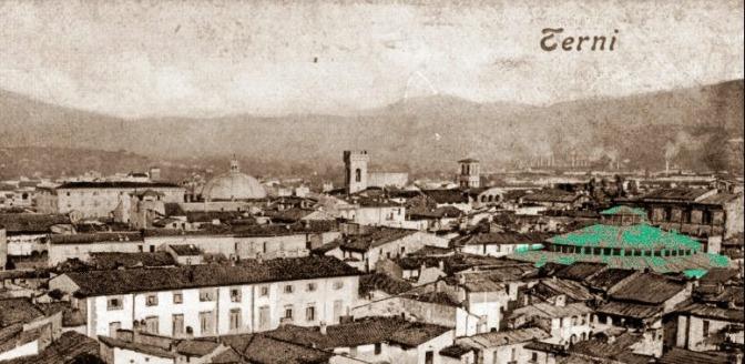 Panorama di Terni dei primi anni del 1900. Il colore contrassegna l'Arena Gazzoli