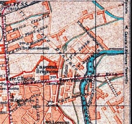Piazza Valnerina nella mappa del TCI el 1923